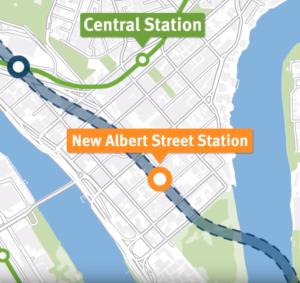 Slide 7 of 7 - Video: Albert Street Station location